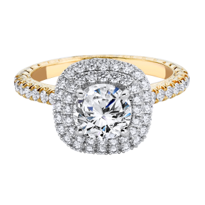 Jack Kelége yellow gold double halo diamond engagement ring - KGR1202Y