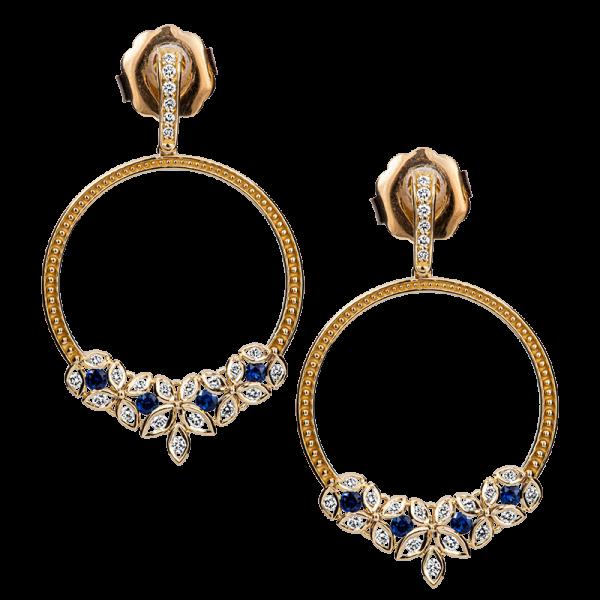 Jack Kelége 18k gold sapphire hoop earrings - KGE230