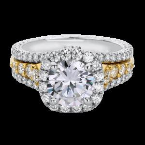 Jack Kelége diamond engagement ring in platinum & 18k white gold - KPR802Y