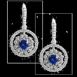 Jack Kelége diamond sapphire drop earrings - KGE219