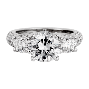 Jack Kelége platinum diamond three-stone engagement ring- KPR631