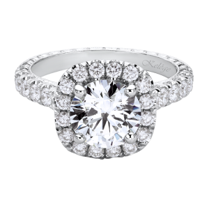 Jack Kelége platinum diamond halo engagement ring KPR649