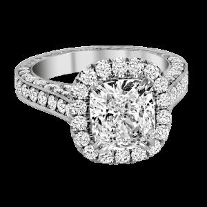 Jack Kelége platinum diamond halo engagement ring - KPR771