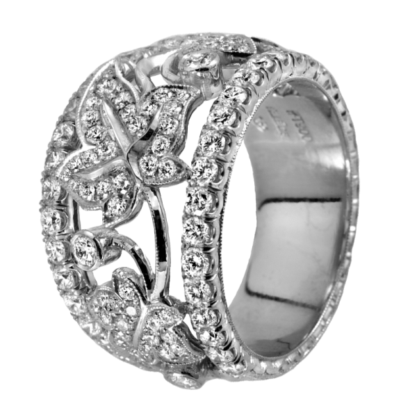 Jack Kelége floral platinum diamond ring - KPBD754