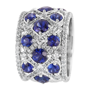 Jack Kelége women's diamond and sapphire wedding ring band - kpbd788