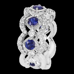 Jack Kelége diamond sapphire womens wedding ring band kgbd221b