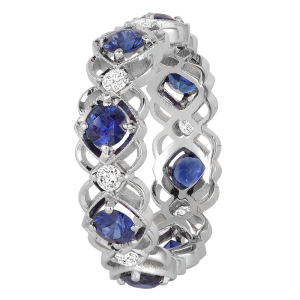 Jack Kelége Women's Diamond Sapphire Wedding Eternity Band / Ring - KGBD162