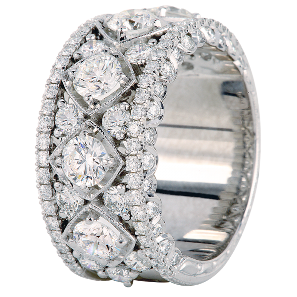 Jack Kelége Women's Platinum Diamond Wedding Band / Ring - KPBD776