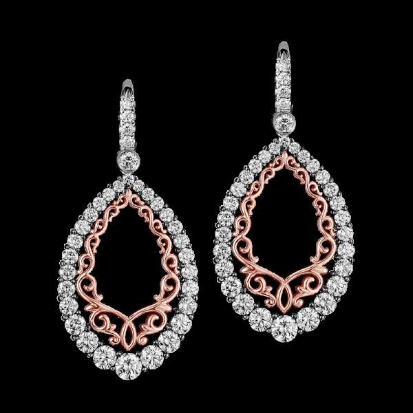 Jack Kelége Diamond Rose Gold Drop Earrings - KGE140