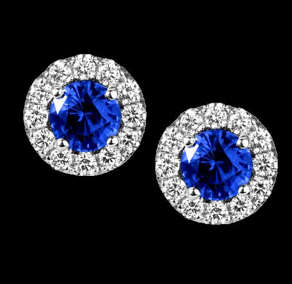 Jack Kelége Diamond Halo Sapphire Earrings
