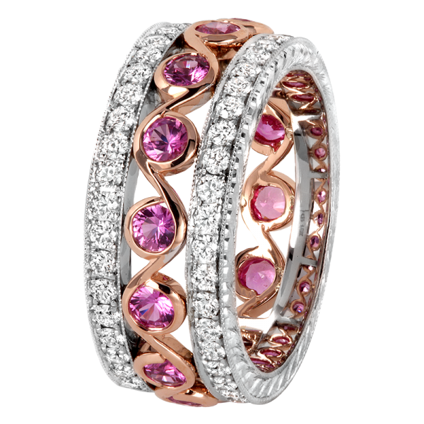 Jack Kelége Pink Sapphire Wedding Band / Ring - KGBD194-PS