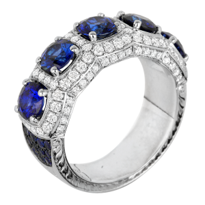 Jack Kelége Platinum Diamond Sapphire Wedding Ring / Band - KPBD791