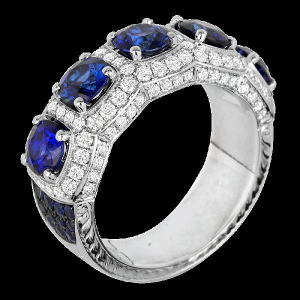 Jack Kelége Platinum Diamond Sapphire Wedding Ring / Band - KPBD791