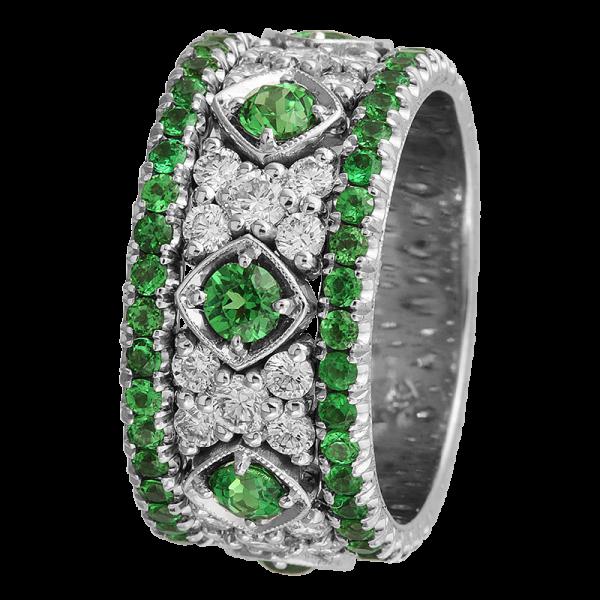 Jack Kelége Women's Diamond Tsavorite Garnet Wedding Band / Ring - KGBD132