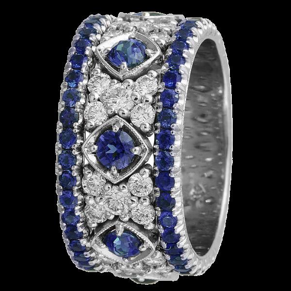 Jack Kelége Women's Diamond Sapphire Wedding Band / Ring - KGBD132