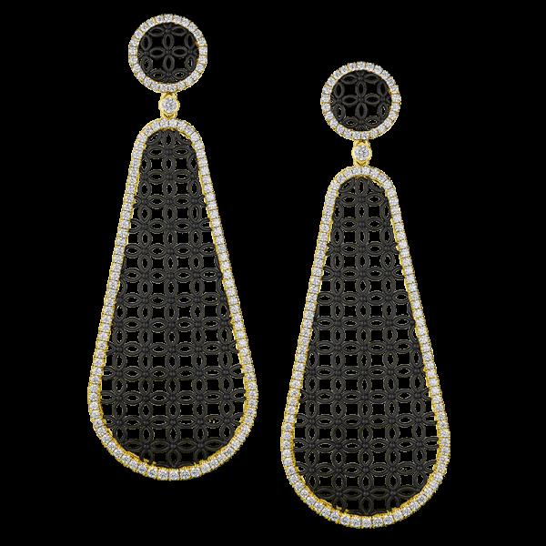 Jack Kelége Black Rhodium Diamond Drop Earrings - KGE158
