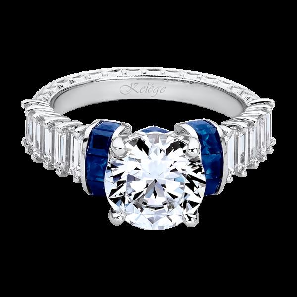 Jack Kelége diamond & sapphire baguette engagement ring - KGR1236