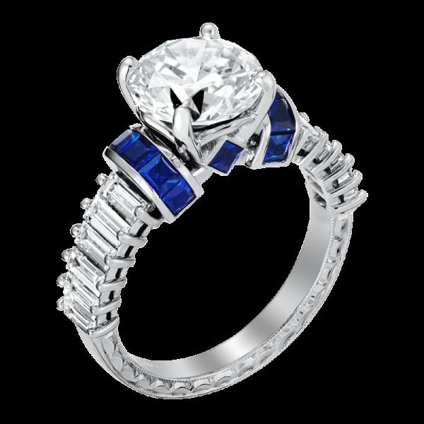 Jack Kelége diamond sapphire engagement ring - KGR1236