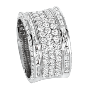 Jack Kelége platinum diamond band with diamond baguettes - KPBD807