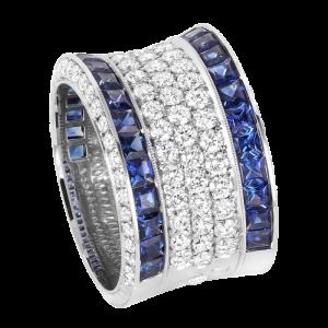 Jack Kelége platinum sapphire & diamond band - KPBD808