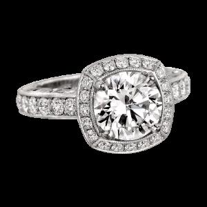 Jack Kelége diamond halo engagement ring set in platinum - KPR622