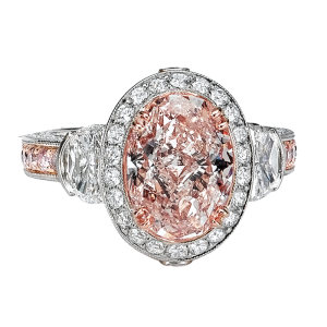 Jack Kelége pink diamond engagement ring set in platinum - KPR466