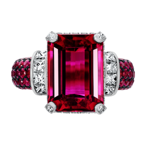 Jack Kelége Rubellite ring - KGR141 with ruby accents set in 18k white gold