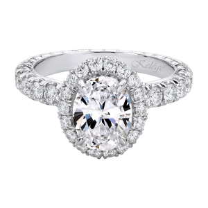 Jack Kelége oval diamond halo engagement ring set in platinum - KPR809