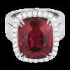 Jack Kelége Rubellite diamond halo ring set in 18k white gold